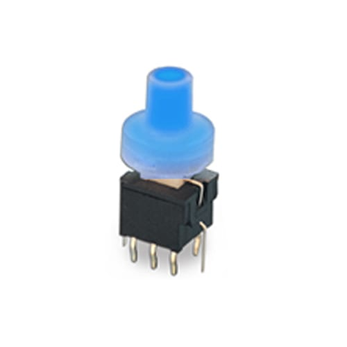 pb61304 _ Blue - PCB, push button switch, switch with LED Illumination, latching and momentary push button function, IP RATING, single or bi-colour LED illumination. RJS Electronics Ltd.