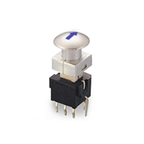 pb61305_ Blue - PCB, push button switch, switch with LED Illumination, latching and momentary push button function, IP RATING, single or bi-colour LED illumination. RJS Electronics Ltd.