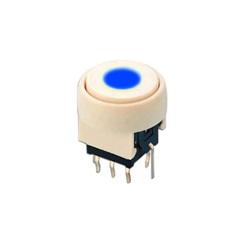 pb6136_ Blue - PCB, push button switch, switch with LED Illumination, latching and momentary push button function, IP RATING, single or bi-colour LED illumination. RJS Electronics Ltd.