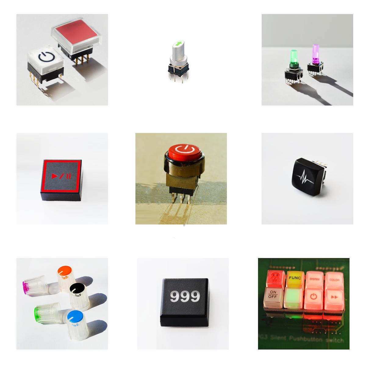 RJS Electronics Ltd, PCB illuminated and non illuminated custom options including stamping and etching. RJS Electronics Ltd, coloured and custom caps.