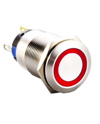 push button switch with ring led illumination, panel mount
