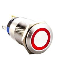 push button switch with ring led illumination, panel mount