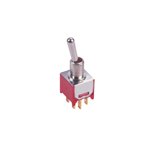 rjs-toggle-switch-2M-dpdt - PCB, Panel mount, Toggle Switches, IP rated, without LED illumination, guards and accessories available. Miniature toggle switch, sealed waterproof toggle switch, sub-miniature toggle switches, ultraminiature toggle switches. Horizontal, right angle, vertical toggle switch. RJS Electronics Ltd.