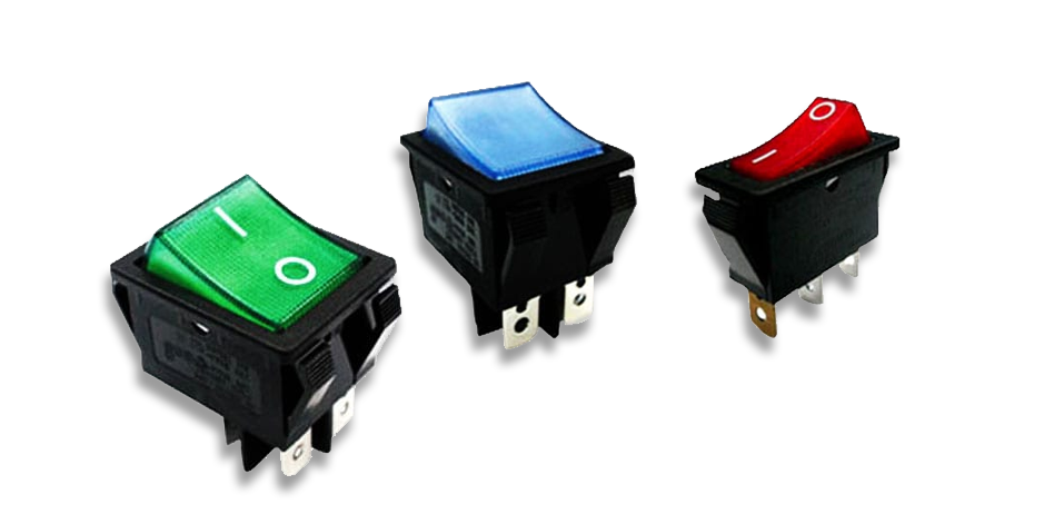 LED illuminated rocker switches