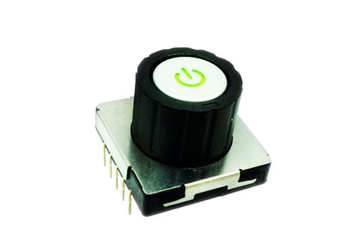rotary switch with centre push button, power symbol custom cap, LED illuminated, rjs electronics ltd