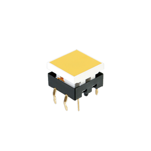 LED illuminated push button switch with tactile feel, square cap, pcb switches, rjs electronics ltd