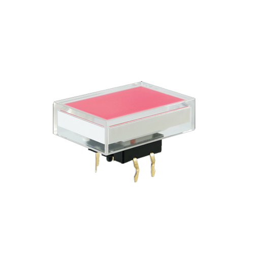 Illuminated pcb push button switch, rectangular cap, SPL16 switch, rjs electronics ltd