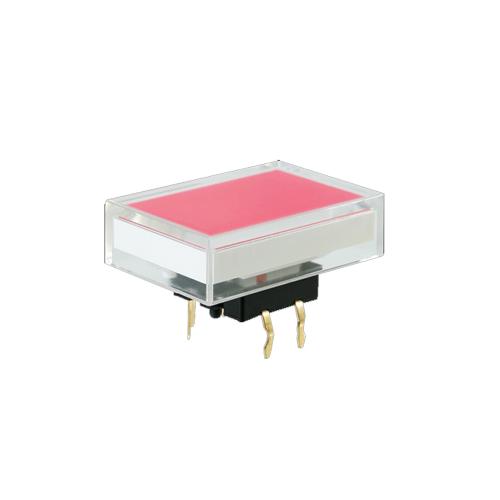 Illuminated pcb push button switch, rectangular cap, SPL16 switch, rjs electronics ltd
