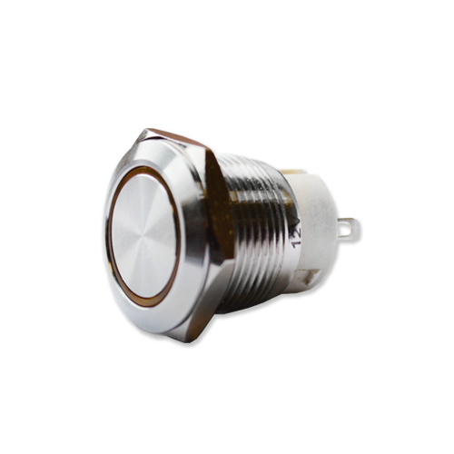 anti vandal metal push button switch. Part number is RJS1N1P-19L(A)-F-R~67Q LED Illumination